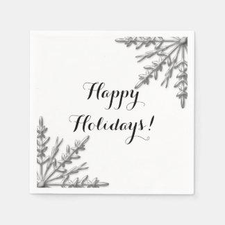Glad helg för Snowflake för Fauxsilvervinter Papper Servett