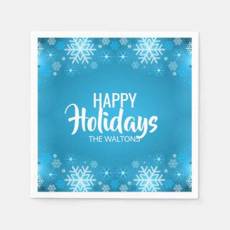 Glad helg för Snowflake för personligblåttvit Papper Servetter