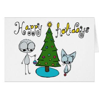 glad helg gulligt stick figur- och kattkort hälsningskort