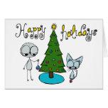 glad helg gulligt stick figur- och kattkort hälsnings kort