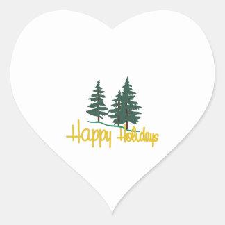 Glad helg hjärtformat klistermärke