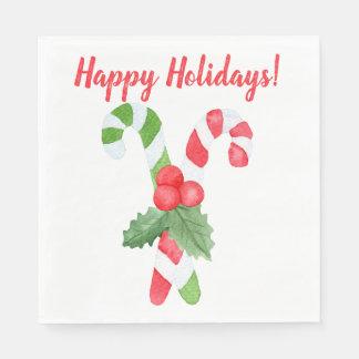 Glad helg! jul för   vattenfärgcandy cane servetter