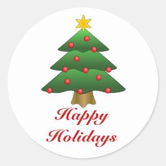 Glad helg julgran med ljus runt klistermärke
