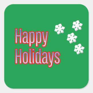 Glad helg med snöflingor fyrkantigt klistermärke