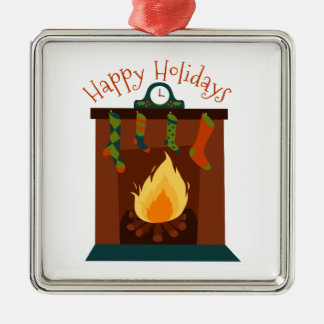 Glad helg silverfärgad fyrkantigt julgransprydnad