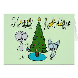 glad helg stick figur och katthälsningkort