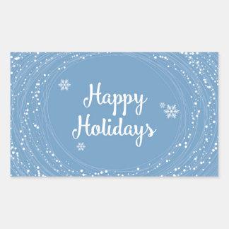 Glad helgsnö pricker, blått och vit, elegant rektangulärt klistermärke