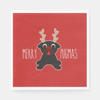 Glad jul för Pugmas svart mopsren Servett