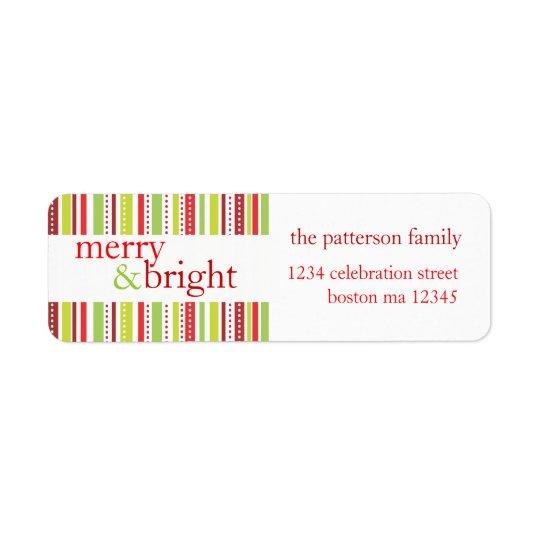 Glad & ljus etikett för julrandhelgdag returadress etikett