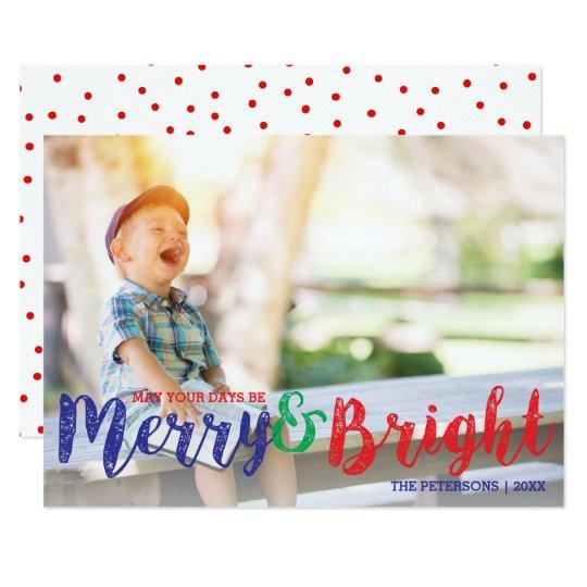 Glad modern jul och ljust helgdagfoto 12,7 x 17,8 cm inbjudningskort