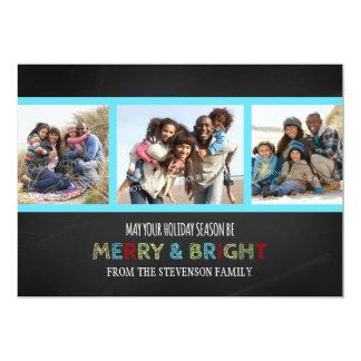 Glad och ljus för fotokort för jul 3 svart tavla 12,7 x 17,8 cm inbjudningskort