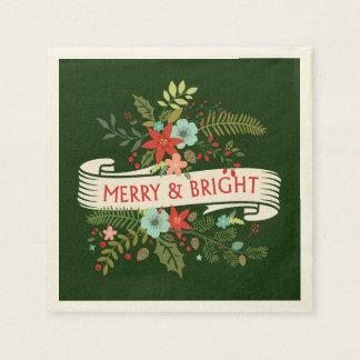 Glad och ljus julblommigtjulfest papper servett
