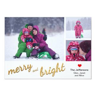 Glad och ljus snöflingor för guld för fotokort | 12,7 x 17,8 cm inbjudningskort