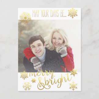 Merry and Bright Snow Holiday Post Card