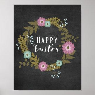 Glad påsk! - Blommigt med blackboarden Poster