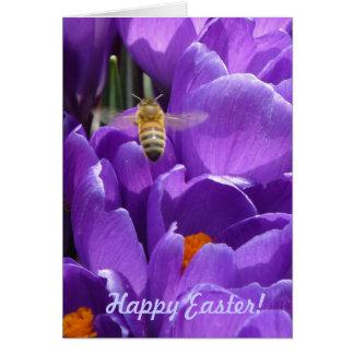"""Glad påsk! """"Krokusar och honungbi """", Hälsningskort"""