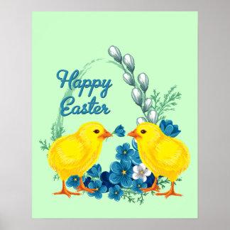 Glad påsk med babychickar poster