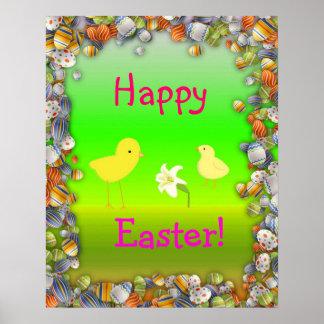 Glad påsk med chickar och blommaaffischen poster