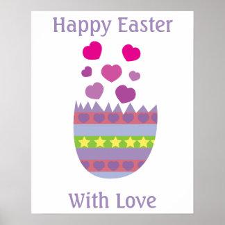 Glad påsk med kärlekpåskägganpassningsbar poster