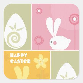 Glad påskhälsningklistermärke fyrkantigt klistermärke