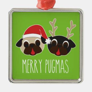 Glad prydnad för Pugmas mopsSanta ren Silverfärgad Fyrkantigt Julgransprydnad
