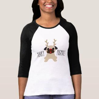 Glad skjorta för mops för Pugmas julren Tshirts