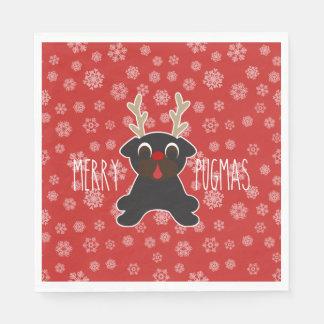 Glad snöflingor för jul för Pugmas mopsren Servetter