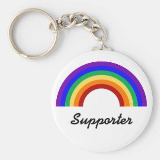 Glad supporterregnbåge Keychain för supporter Rund Nyckelring