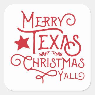 Glad Texas jul dig klistermärkear Fyrkantigt Klistermärke
