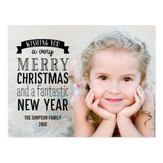 Glad vykort för kort för meddelandehelgdagfoto