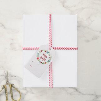 Glada & ljusa märkre för julkrangåva pack av presentetiketter
