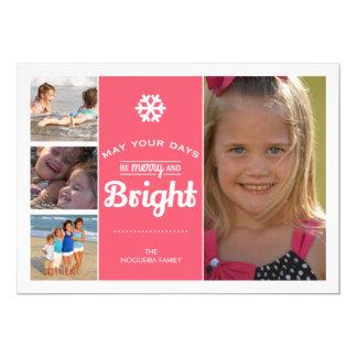 Glada ljusa rosor för Collage för helgdagfotojul 12,7 X 17,8 Cm Inbjudningskort