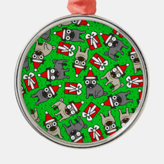 Glada mops (grönt) julgransprydnad metall