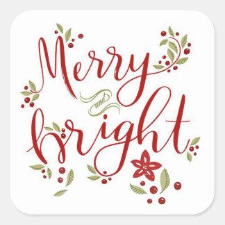 Glada och ljusa julstjärnalöv & bär fyrkantigt klistermärke