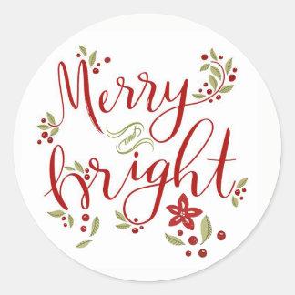 Glada och ljusa julstjärnalöv & bär runt klistermärke