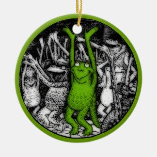 Glädjande grodor julgransprydnad keramik