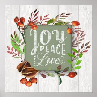 Glädje fred, svart tavlakran ID437 för kärlek Poster