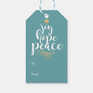Glädje-, hopp- och fredjuletiketter pack av presentetiketter
