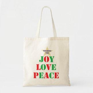 Glädje kärlek, fred tygkasse