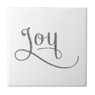 Glädje skrivar silverglitter kakelplatta
