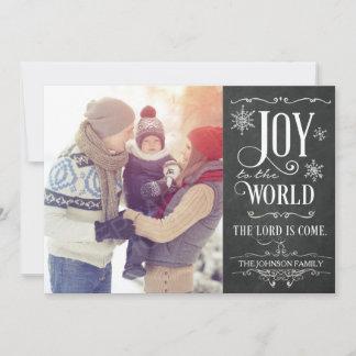 Joy to the World Chalkboard Photo Christmas Card