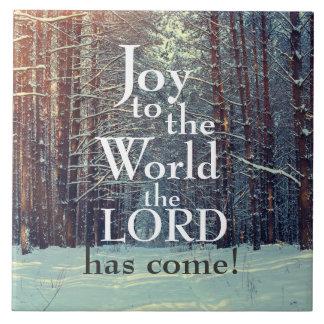 Glädje till världen lorden har komen, vinterskog kakelplatta