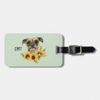 Gladlynt | bulldoggblandning med monogramen för bagagebricka