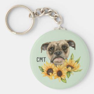 Gladlynt | bulldoggblandning med monogramen för rund nyckelring