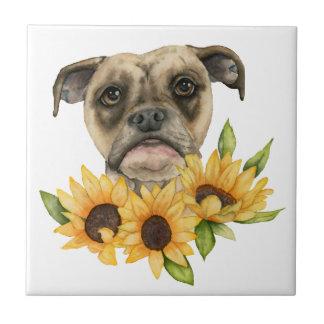 Gladlynt | bulldoggblandning med solrosvattenfärg kakelplatta