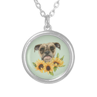 Gladlynt | bulldoggblandning med solrosvattenfärg silverpläterat halsband