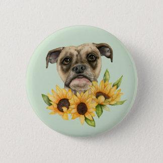 Gladlynt | bulldoggblandning med solrosvattenfärg standard knapp rund 5.7 cm