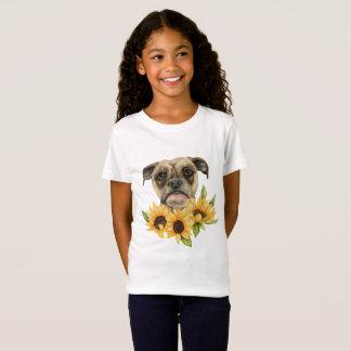 Gladlynt | bulldoggblandning med solrosvattenfärg tee shirts