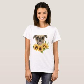 Gladlynt | bulldoggblandning med solrosvattenfärg tshirts