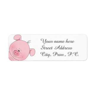 Gladlynt rosa gristecknad returadress etikett